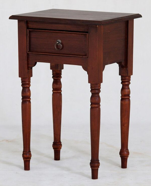 JKG TURN LEG 1 DRAWER SIDE  TABLE 750(H)  -  MAHOGANY