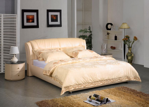 QUEEN  LANZA LEATHERETTE BED (A857-B) - ASSORTED COLOURS