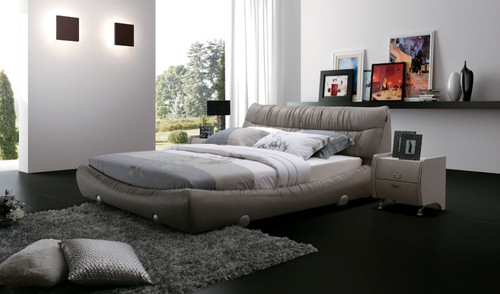 QUEEN SHANE LEATHER + PVC  BED (A895) - ASSORTED COLOURS