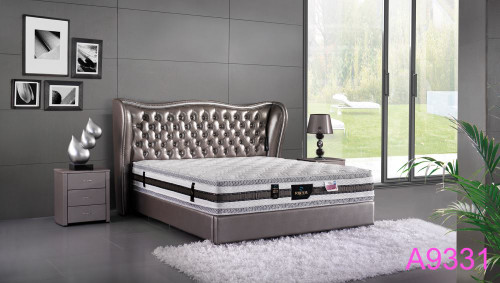 QUEEN VALENTINO  LEATHERETTE BED WITH TUFTED BEDHEAD (A9331) - ASSORTED COLOURS (MADE TO ORDER)
