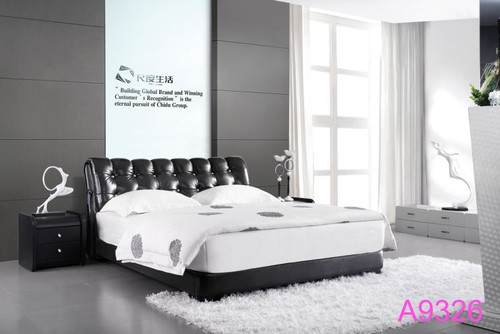 QUEEN SAMANTHA  LEATHERETTE BED WITH TUFTED BEDHEAD (A9326) - ASSORTED COLOURS (MADE TO ORDER)