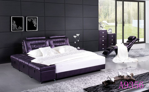 QUEEN  PRINCETON LEATHERETTE   BED (MODEL- A9356) - ASSORTED COLORS (MADE TO ORDER)