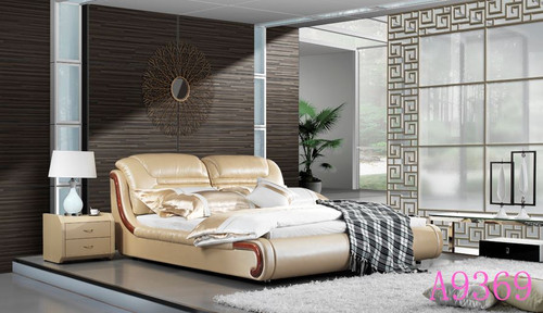 QUEEN MAYA LEATHERETTE  BED  (MODEL - A9369) - ASSORTED COLORS  (MADE TO ORDER)