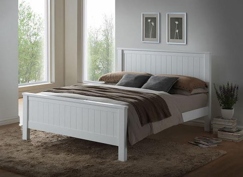 QUEEN  EMPRESS  HARDWOOD /MDF BED (2-18-15-4-9-5) - WHITE