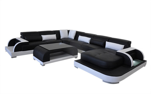 GANDILL (L6012) CORNER CHAISE LOUNGE SUITE WITH COFFEE TABLE AND SMALL CUSHIONS - BLACK / WHITE