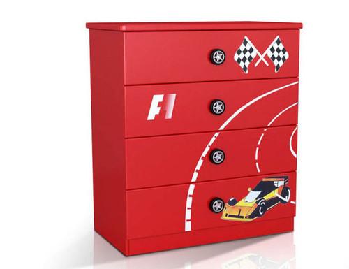 F1 (MODEL 1105-264R) 4 DRAWER TALLBOY - RED