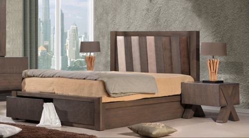 QUEEN PARAGON BED WITH FABRIC INSERT BEDHEAD  (22-9-15) -  BELGIAN OAK / BEIGE