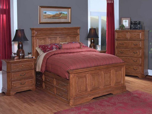 KING FELTON PANEL BED WITH 12 DRAWERS (11-9-14-7-19-15-14)