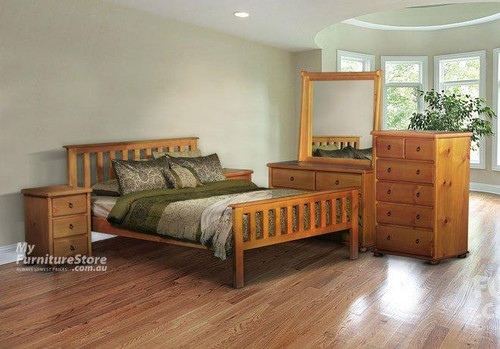 FEDERATION MATCHING FOOT KING 4 PIECE TALLBOY BEDROOM SUITE WITH BOB CASE GOODS - ASSORTED COLOURS