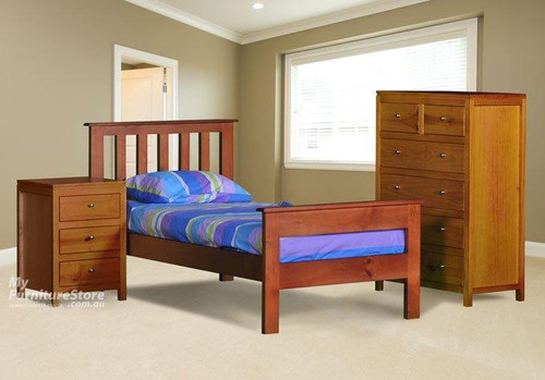 FEDERATION WITH RAILED FOOT END SINGLE OR KING SINGLE 3 PIECE BEDROOM SUITE WITH OLIVER CASE GOODS - ASSORTED COLOURS