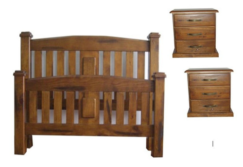 CENTURY  KING 3 PIECE  BEDSIDE BEDROOM SUITE - NUTMEG (#216)