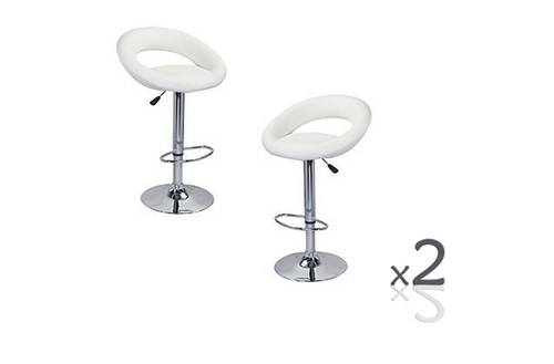 CONIX ( BARS-14WH-ONE)  SET OF 2 PACK CIRCULAR  KITCHEN BAR STOOLS - SEAT: 820 - 1040(H) - WHITE