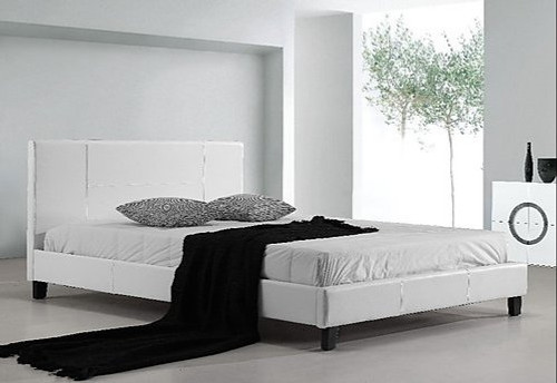 DOUBLE (ING-DBFB-WHITE) LEATHERETTE  BED FRAME  - WHITE