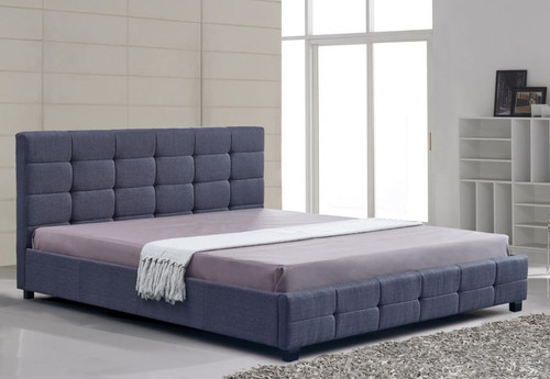 KING DELUXE FABRIC LINEN  TUFTED BED -  GREY
