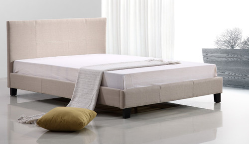 DOUBLE  PALERMO   FABRIC  LINEN  BED FRAME (ING-DBFB-FAB-255)  - BEIGE