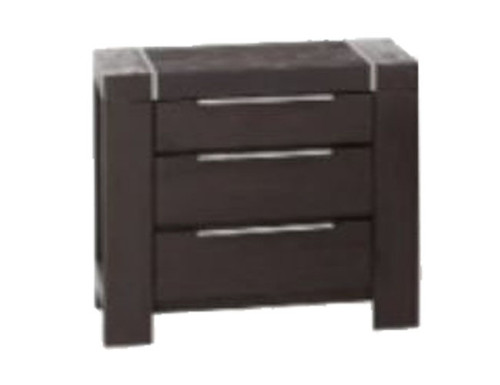 RALPH 3 DRAWER BEDSIDE TABLE  - RAINFOREST BROWN
