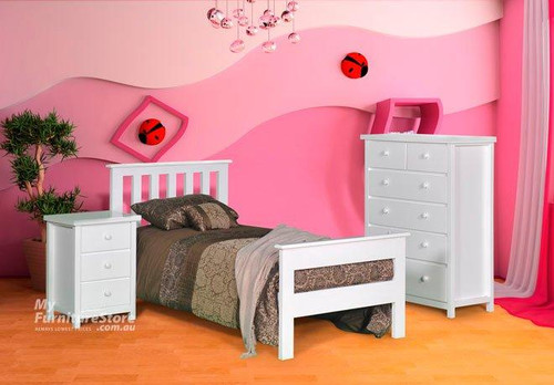 KING SINGLE FEDERATION BED WITH 2 RAIL FOOT - WHITE