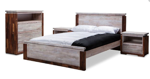 VALLARTA  QUEEN 4 PIECE   TALLBOY  BEDROOM SUITE -  (MODEL-3-1-20-1-12-9-14-1) - RUSTIC  FINISH