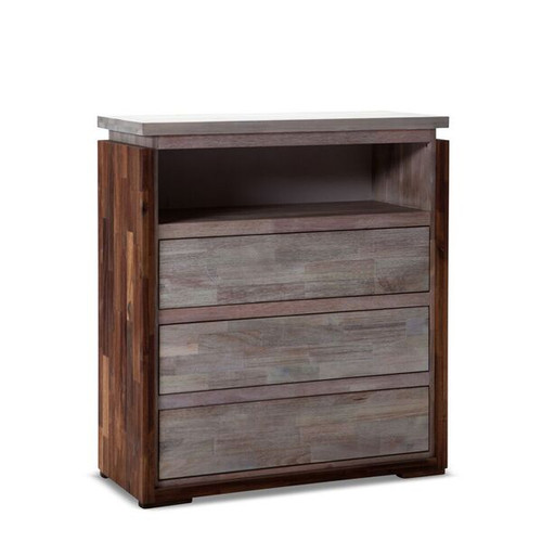 VALLARTA  3  DRAWER TALLBOY WITH SHELF (MODEL-3-1-20-1-12-9-14-1) - RUSTIC FINISH