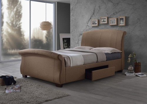 QUEEN  ROGAZO BED WITH UNDERBED DRAWER - (MODEL- CF-8537) - LIGHT BOROWN OR  CHARGOAL GREY