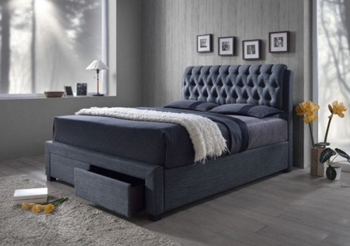 KING LOUTON FABRIC BED WITH 2 BED END DRAWERS - (MODEL- CF-8568) - CHARCOAL GREY OR LIGHT BROWN