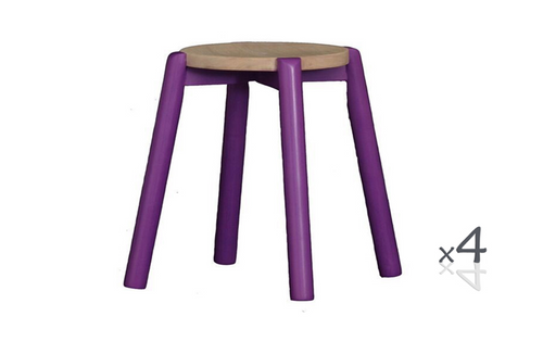 WILLOW (BR048RO) WOODEN ROUND BARSTOOL / KITCHEN BENCH  (4 UNITS IN A BOX) - SEAT: 480(H) - PURPLE / WASHED