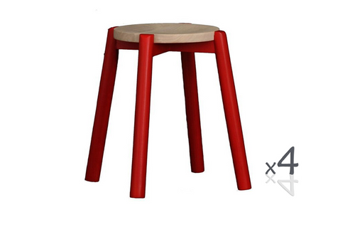 WILLOW (BR048ROWSRD) WOODEN ROUND BARSTOOL / KITCHEN BENCH  (4 UNITS IN A BOX) - SEAT: 480(H) - RED  / WASHED