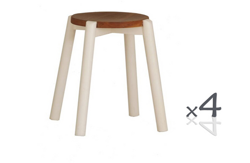 WILLOW (BR048ROWR) WOODEN ROUND BARSTOOL / KITCHEN BENCH  (4 UNITS IN A BOX) - SEAT: 480(H) - WHITE/ CARAMEL