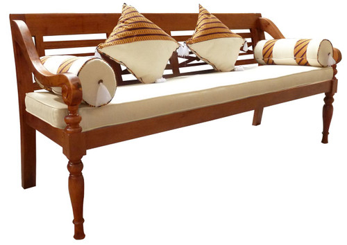 XL REST BENCH WITH CUSHION AND PILLOW (CH 004 TW W/ C) - LIGHT PECAN