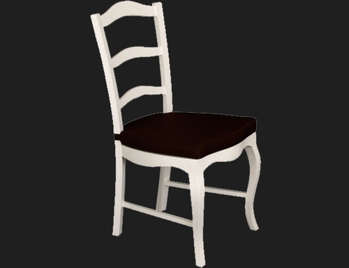 FRENCH PROVINCIAL DINING   CHAIR  WITH CUSHION   - WHITE