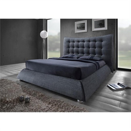 KING  HIGHLAND FABRIC UPHOLSTERED  BED  (19-1-20-21-18-14)  - GREY