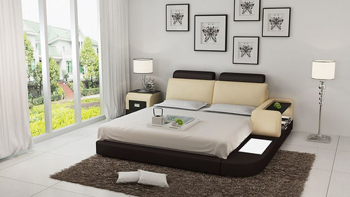 QUEEN IDAHO MODERN LEATHER BED ( LB8804) - ASSORTED COLOURS AVAILABLE IN DIFFERENT  LEATHERS (COLOUR BOARD ATTACHED IN IMAGE SECTION)