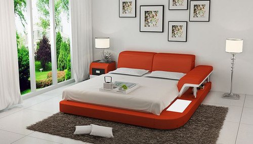 QUEEN  ASHVILLE  MODERN LEATHER BED ( LB8806) - ASSORTED COLOURS AVAILABLE IN DIFFERENT  LEATHERS (COLOUR BOARD ATTACHED IN IMAGE SECTION)