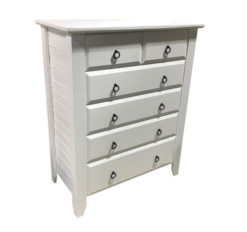 MANILLA TALLBOY WITH 6 DRAWERS - ASSORTED TIMBER COLOUR STAINS (NOT AS PICTURED)
