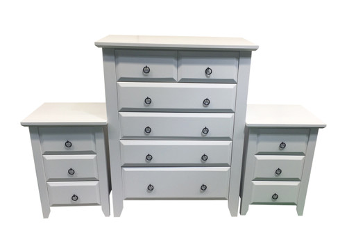 MANILLA 3 PIECE CHEST SET (WITH RING HANDLES) - ASSORTED TIMBER COLOUR STAINS (NOT AS PICTURED)