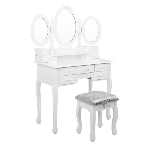 ERIN LUXURY DRESSING TABLE WITH MIRROR & STOOL WITH 7 DRAWERS (DRESS-TAB-7D-AB) (MODEL 5-12-12-1) -1460(H) X 1020(W) -  WHITE