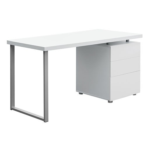 MAYA OFFICE STUDY COMPUTER DESK WITH 3 DRAWERS (DESK-140M-WH-AB) - WHITE