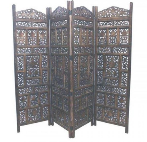 JAMIN  WOODEN 4 FOLDING  PANEL SCREEN / ROOM DIVIDER (WOWP-014) - BURNT