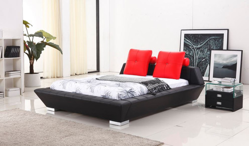 QUEEN GERANDA  LEATHERETTE BED WITH CUSHION   (G969#) - ASSORTED COLORS