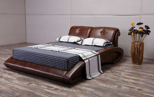 QUEEN  SWISS  LEATHERETTE BED (G1119#) - ASSORTED COLORS