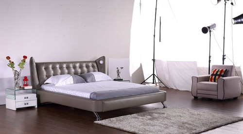 QUEEN SALAMIS LEATHERETTE BED (G1057#) - ASSORTED COLORS