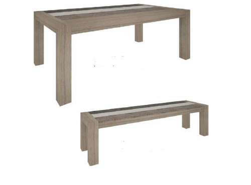 HIGHLAND 3 PIECE BENCH SET  (3-8-1-20-5-1-21) 1800(W) X 1000(D) DINING TABLE - BRUSHED & MULTI COLOR