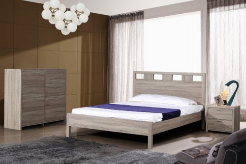 ARIZONA TIMBERGRAIN KING 4 PIECE  TALLBOY  BEDROOM SUITE (FIXED BED)   - LIGHT OAK