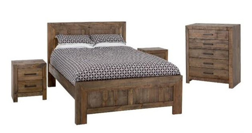 ZAINAB KING 4 PIECE TALLBOY  BEDROOM SUITE (1-12-5-24-1-14-4-18-9-1) - SMOKEY PINE