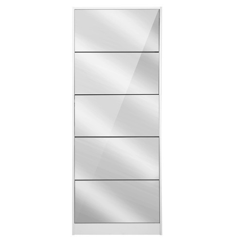 LENNY MIRRORED SHOE CABINET WITH WITH 5 DRAWER STORAGE 1700(H) x 630(W) - WHITE