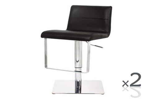 JAYE (SET OF 2) LEATHERETTE GASLIFT & SWIVEL BARSTOOL SEAT: 630-840(H)  (VJY-1071) - BLACK