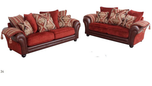 MADISON  3S + 2S  FABRIC  / LEATHERETTE UPHOLSTERED LOUNGE SUITE - COLORFUL
