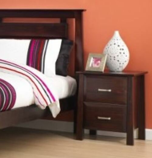 ANGELO 2 DRAWER BEDSIDE TABLE (OR-76-1) - DARK CHOCOLATE
