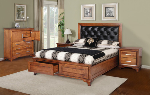 CASSIDY QUEEN 6 PIECE (THE LOT)  AMERICAN OAK  BEDROOM SUITE(3-1-13-4-5-14) - OAK