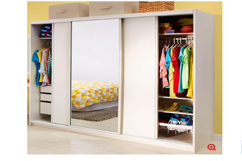 SERIES 150 PRE FABRICATED WARDROBE WITH MIRRORED DOOR (NOT AS PICTURED) -  1800(H) X 2250(W)  – ASSORTED COLOURS